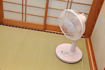 扇風機の使用(畳表面の温度、湿度を下げる)